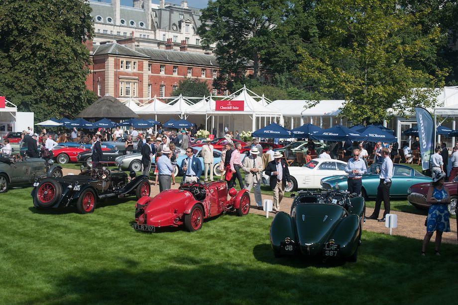 L to R - 1930 Bugatti Type 43A, 1934 Alfa Romeo 8C 2300 Brianza, 1929 OM 665 SSMM and 1940 Aston Martin Type C Speed Model