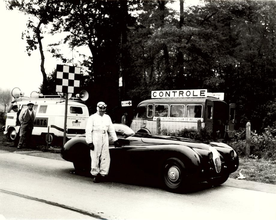 Norman Dewis with the modified Jaguar XK120 MDU 254