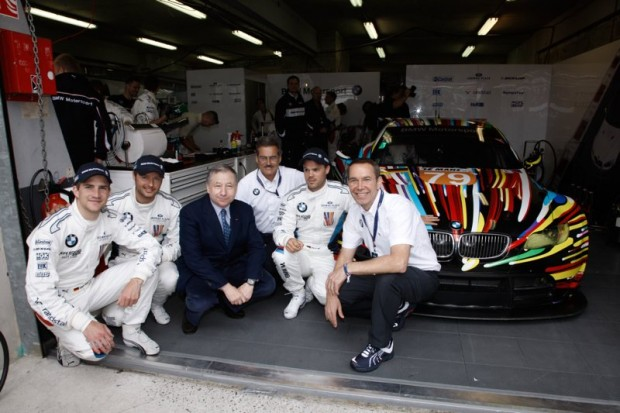 Jeff Koons and Jean Todt with BMW Team in front of BMW M3 GTR Art Car at Le Mans 24 Hours 2010