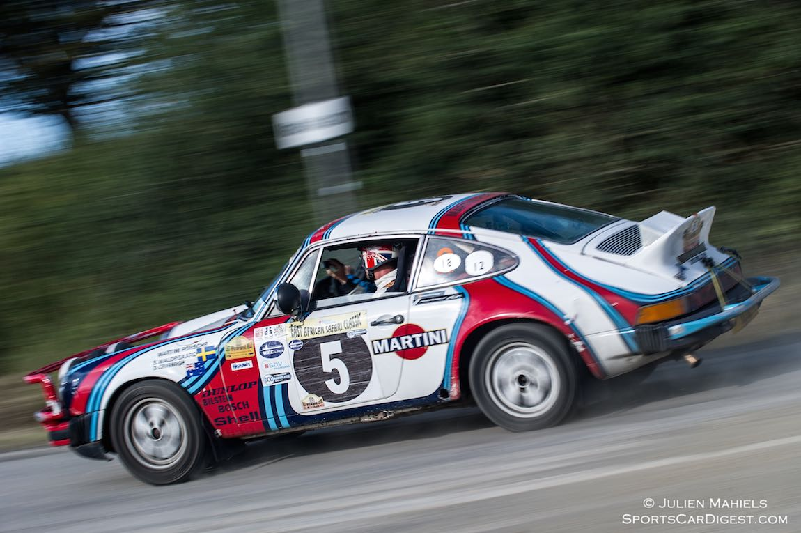 Bjorn Waldegard and David Cavanagh drove this Martini-liveried Porsche 911 on the East African Safari Classic in 2005