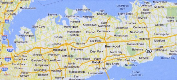 Current-day map of Long Island
