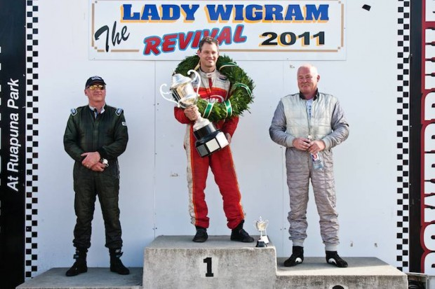 Lady Wigram Trophy podium (from left) Tony Richards, winner Jay Esterer and second placed Steve Ross