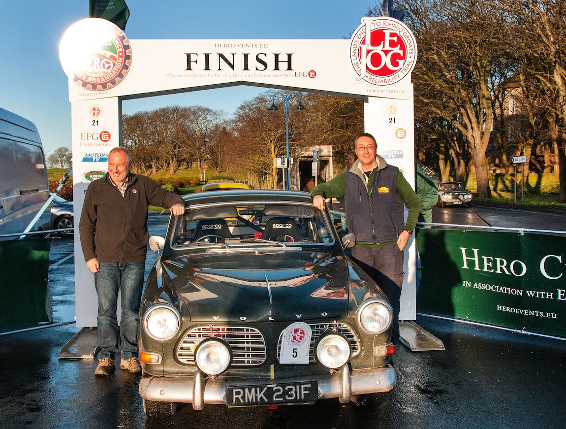 Winners Andy Lane and Iain Tullie with their 1967 Volvo 123 GT