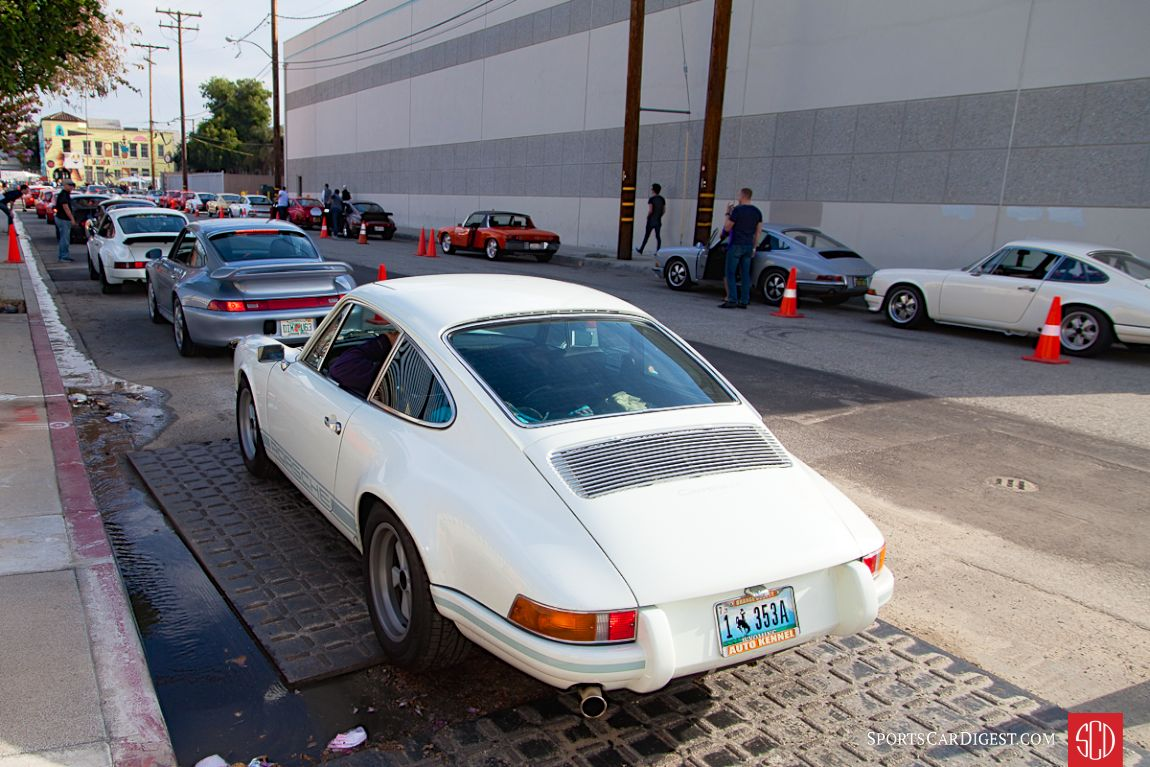 Porsches line up on both side of the street for the 2016 Luftgekuhlt (Photo: Victor Varela)