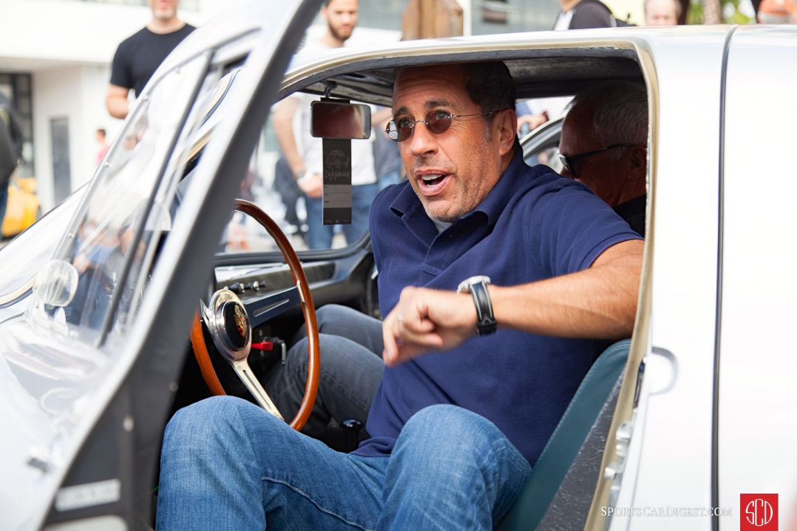 Jerry Seinfeld emerges from his Porsche 904 Carrera GTS Luftgekuhlt 3 (Photo: Victor Varela)