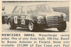 Mercedes-Benz 300 SEL Racing Car For Sale