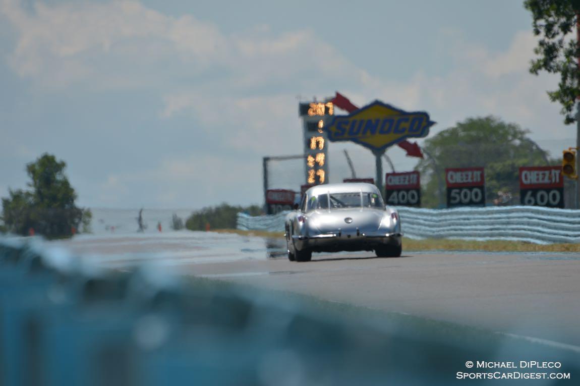 "1959 Corvette heads toward the ""Bus Stop""."