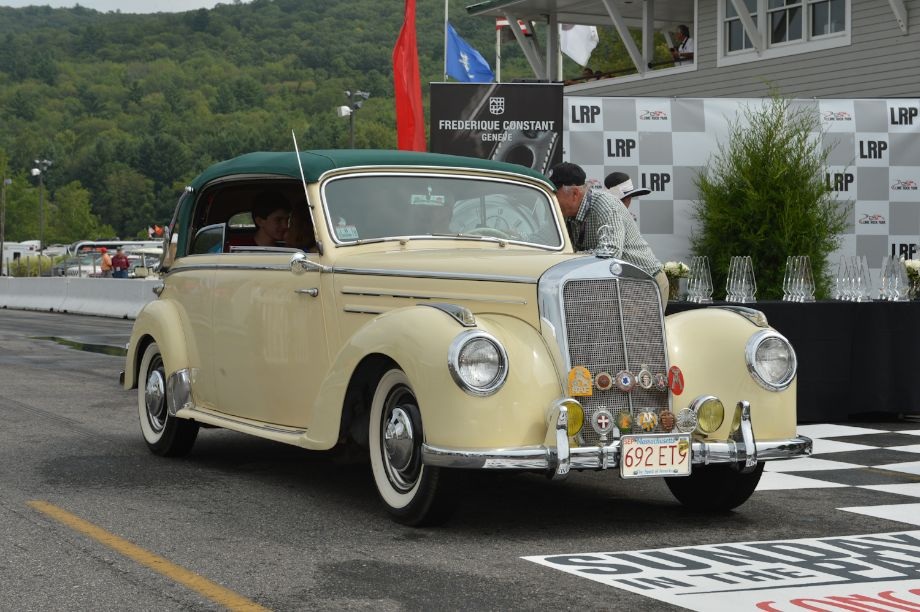 """""""Fancy 'n Fun,"""" just the thing for a Sunday drive; convertibles 1943 to 1960 First: 1953 Mercedes-Benz 220b, Jeff, Jake, Matt and Diane Diamond, Great Barrington, Mass."""