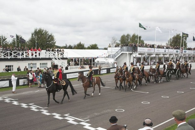 Nobody does pageantry like the British; here the beautiful mounts of the Royal Horse Artillery bring the caisson and canon forward for the salute.