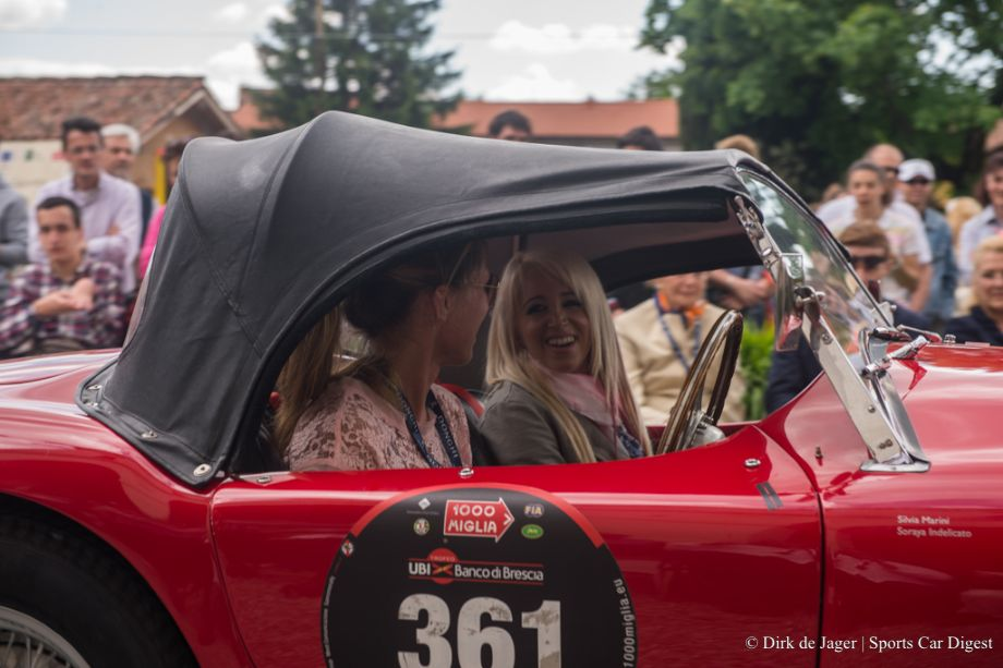 Still having fun before the start in a 1956 AC Ace