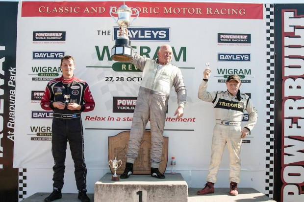 Joining Steve Ross on the podium was runner-up Ken Smith (right) and Alan Dunkley (left).