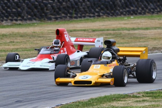 Steve Ross (McRae GM1) leading Michael Lyons (Lola T400) in the second race.