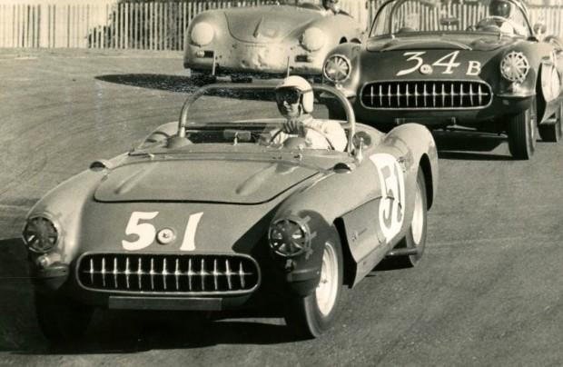 Bob Bondurant, number 51 1957 Chevrolet Corvette