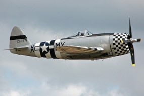 P-47 Thunderbolt in flight side photo