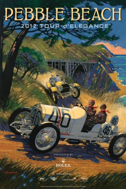 2012 Pebble Beach Tour d'Elegance poster by artist Barry Rowe
