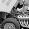The big Chrysler Hemi engine of the Cunningham C-4R during the 1952 24 Hours of Le Mans