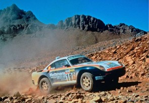 Porsche 911 Paris-Dakar Rally Car at Pebble Beach Display