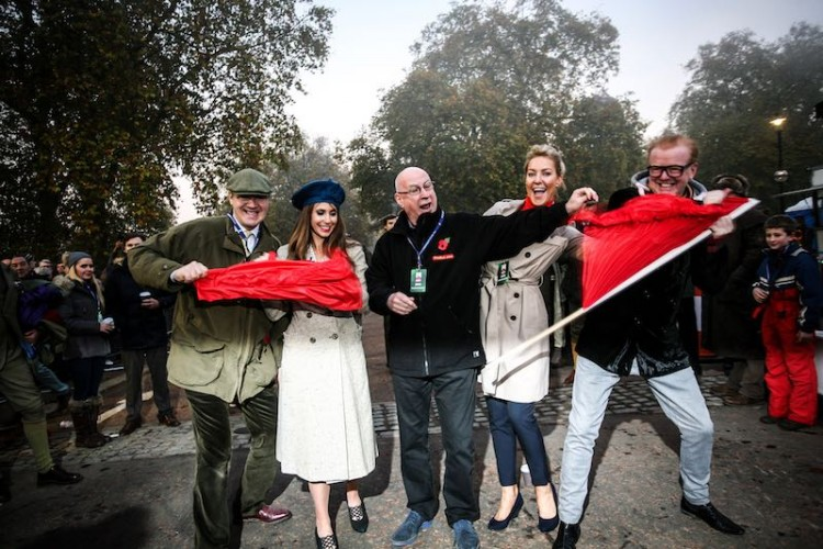 Robert Brookes, Alex Jones, Ken Bruce, Natalie Lowe and Chris Evans tearing up the red flag