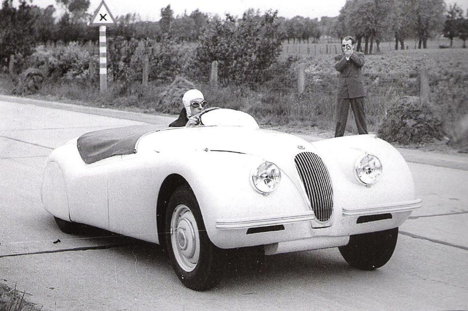 Ron 'Soapy' Sutton at the wheel of the 1949 Jaguar XK120