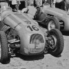 Mailander's lens zooms in on the unique HWM-Alta, car number 16, shown here in the pits at the June 4, 1950 Swiss Grand Prix Formula Two race held in Bremgarten. Driven and constructed by George Abecassis, originally for the Formula Two class, the HWM later became eligible to compete in Grand Prix events.