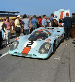Porsche 917K of Pedro Rodriguez & Jackie Oliver on the starting grid at 24 Hours of Daytona 1971.