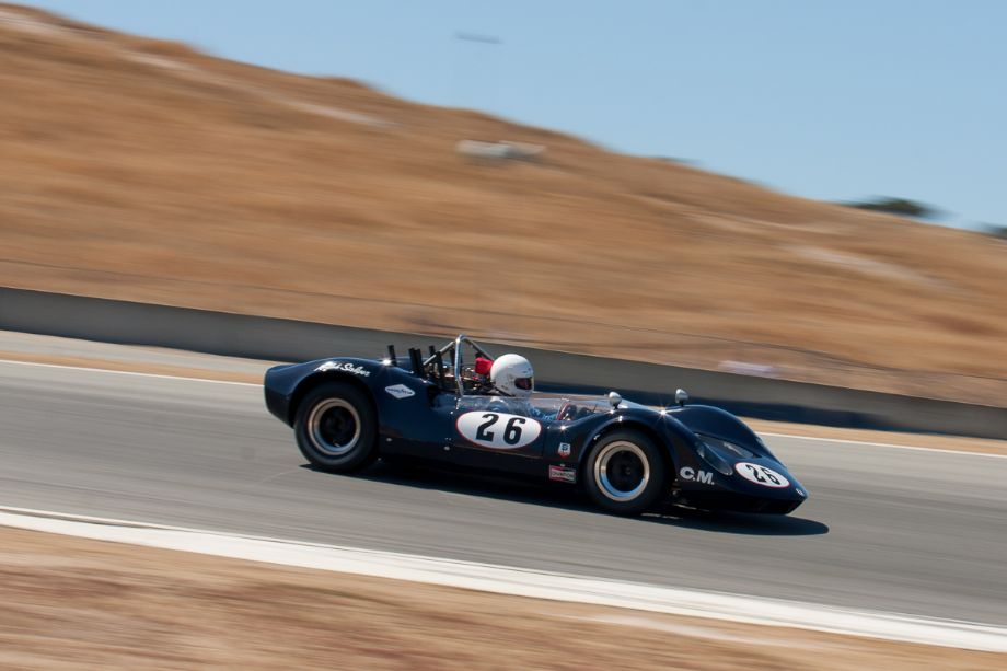 Edie Arrowsmith as he enters turn 10 in his 1965 McLaren M1A. Legends of Motorsports Laguna Seca 2013 (Taken at 1/125 sec.@ f/11.0 - ISO 200) © 2013 Victor Varela