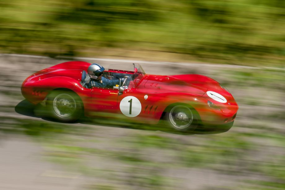 Andrew Cannon through the trees in his 1956 Maserati 250S. HMSA Sommet des Legendes 2013 (Taken at 1/40 sec.@ f/16.0 - ISO 100) © 2013 Victor Varela