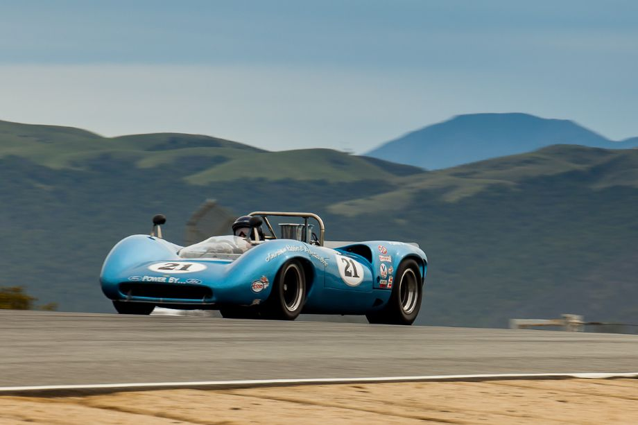The 1967 Lola T70 MK IIIB Spyder as it crests the Rahal Straight before the Corkscrew. HMSA Spring Club Races 2013 (Taken at 1/125 sec.@ f/16.0 - ISO 200) © 2013 Victor Varela