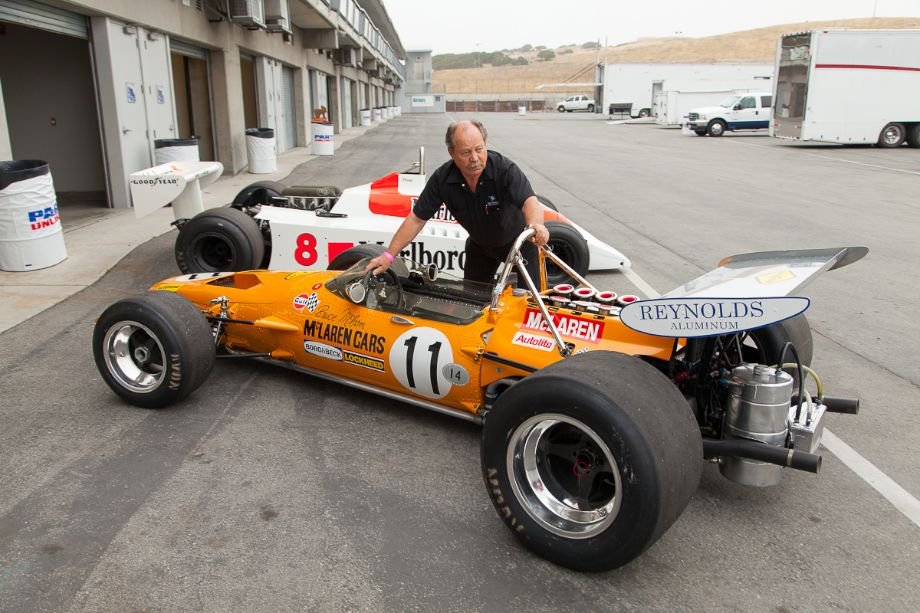 Martin Fogel's 1969 McLaren M10A being pushed out of the garage. Legends of Motorsports Laguna Seca 2013 (Taken at 1/125 sec.@ f/6.3 - ISO 400) © 2013 Victor Varela