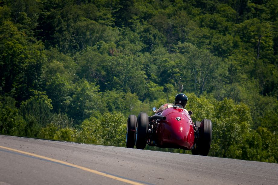 Peter Giddings in his 1953 Maserati 250F, as he races down into turn 2 at Mont- Tremblant. HMSA Sommet des Legendes 2013 (Taken at 1/640 sec.@ f/8.0 - ISO 400) © 2013 Victor Varela