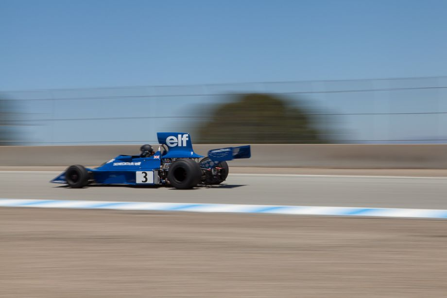 Nicholas Colyvas in his 1974 F1 Tyrrell 007 as he ascends Rahal Straight. Legends of Motorsports Laguna Seca 2013 (Taken at 1/50 sec.@ f/22.0 - ISO 100) © 2013 Victor Varela