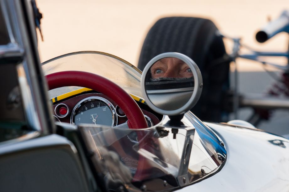 Chris Locke waits patiently in his 1963 Lotus 27. HMSA Spring Club Races 2013 (Taken at 1/80 sec.@ f/7.1 - ISO 100) © 2013 Victor Varela