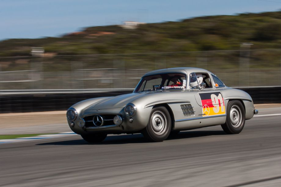 Alex Curtis keeps the back end of this 1955 Mercedes-Benz 300SL in check, coming out of Turn 11. HMSA Spring Club Races 2013 (Taken at 1/60 sec.@ f/22.0 - ISO 100) © 2013 Victor Varela