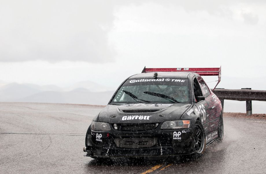 Treacherous conditions for David Kern's 2005 Mitsubishi Lancer Evolution