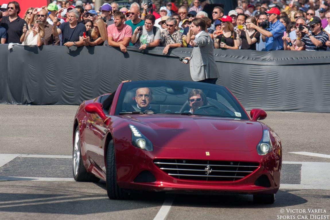 Sergio Marchionne, CEO of FCA arrives in a 2014 Ferrari California