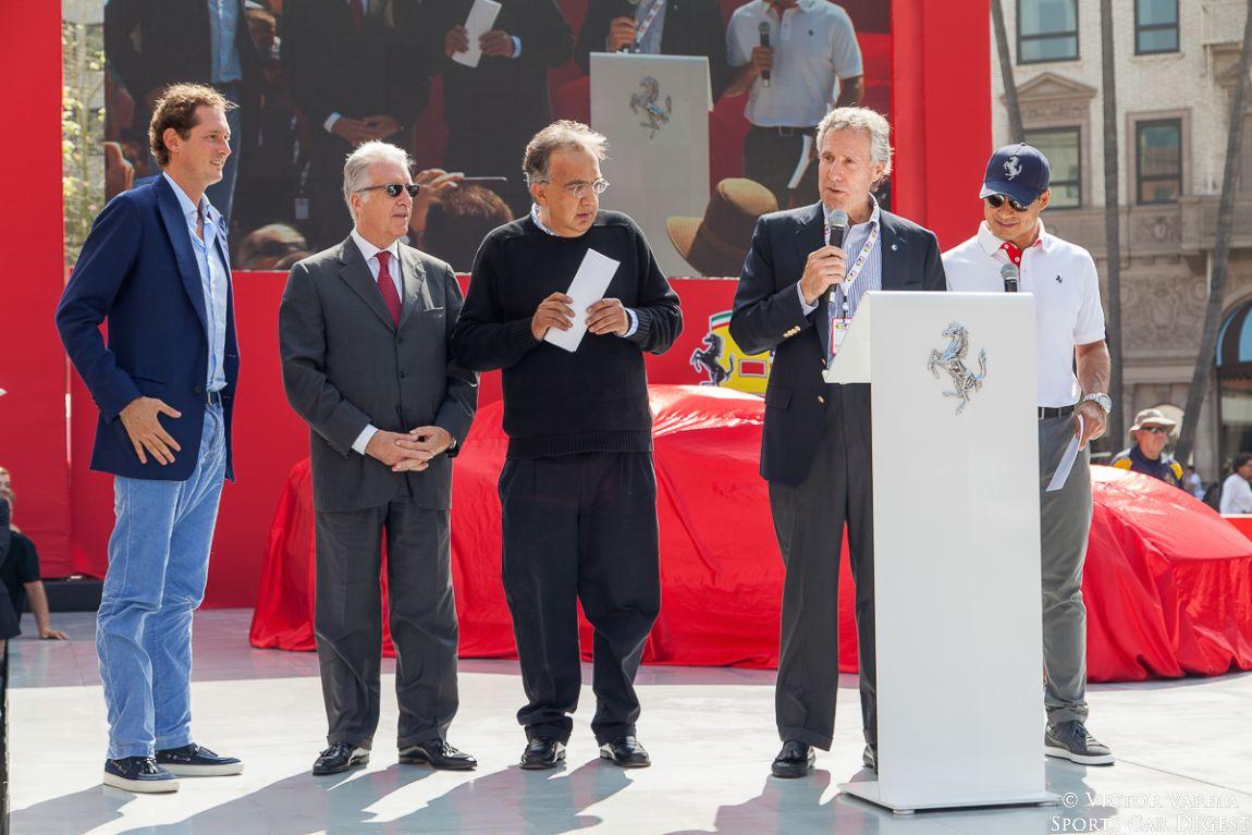 John Elkann, Chairman of FCA, Piero Ferrari, Vice Chairman of Ferrari, Sergio Marchionne, CEO of FCA Bruce Meyer, founding chairman of the Petersen Automotive Museum and TV personality Mario Lopez