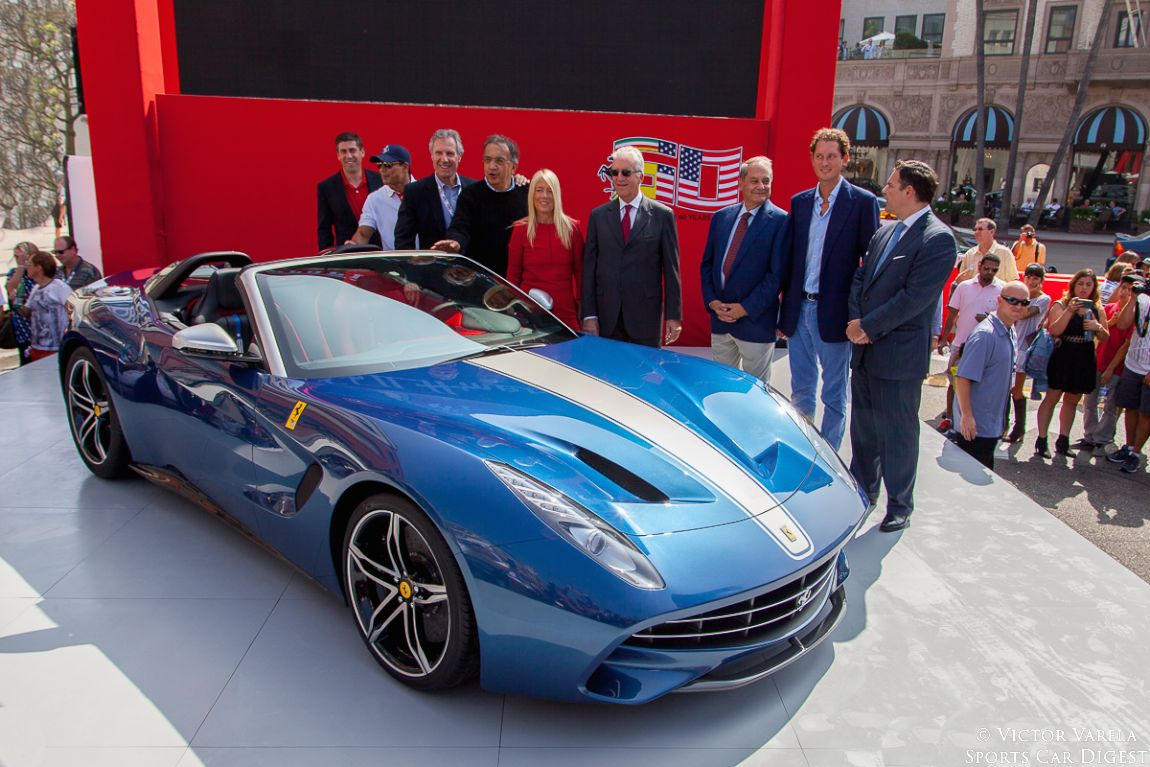 Bruce Meyer, Sergio Marchionne, Piero Ferrari and John Elkann. along with other VIPs during the unveiling of the 2015 F60 America
