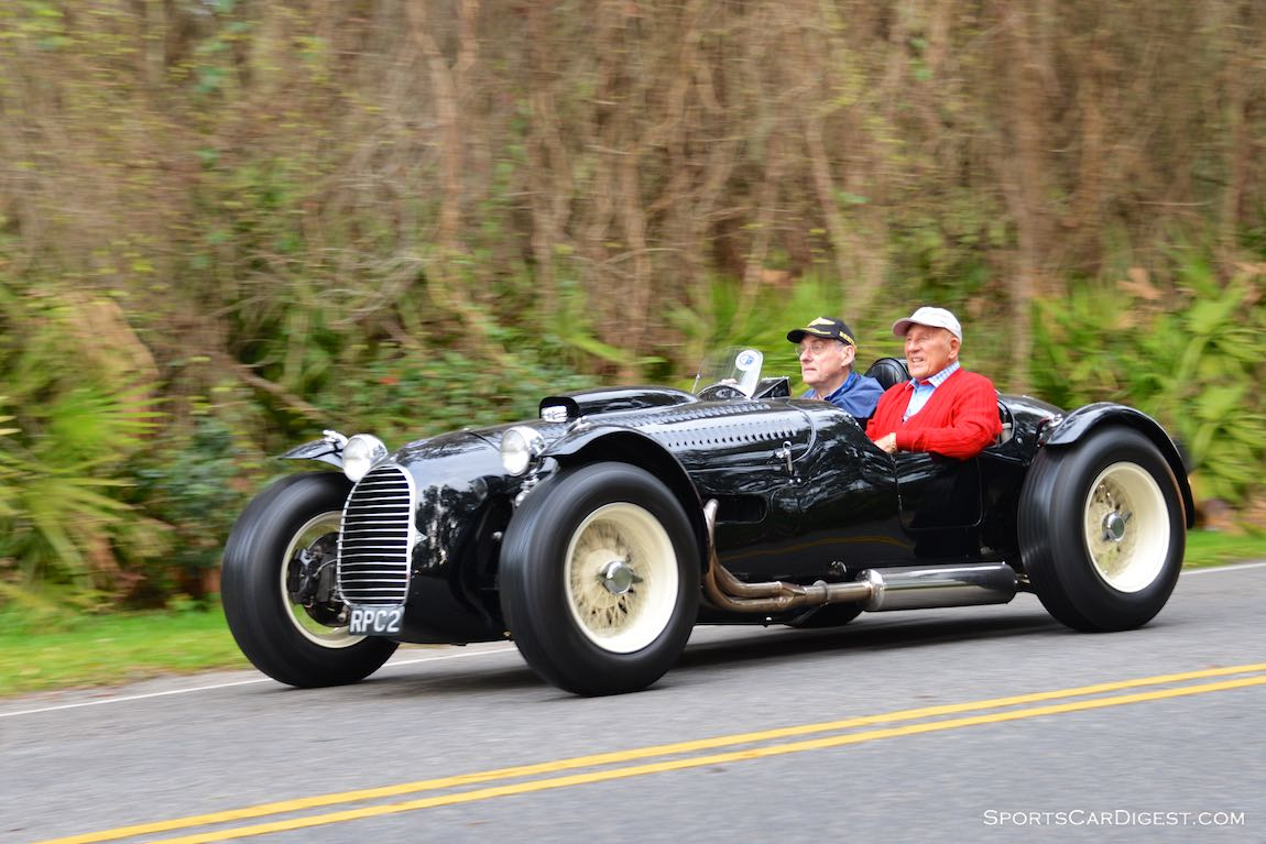 Sir Stirling Moss in the 1950 HWM Stovebolt Special on the 2015 Amelia Island Concours Road Tour