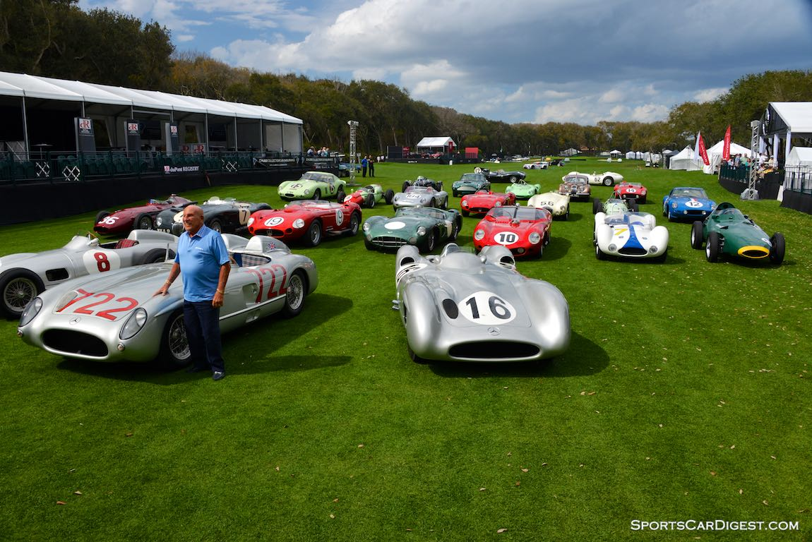 The Legend with his Race Cars - Stirling Moss with a a selection of his finest race cars at the Amelia Island Concours d'Elegance 2015