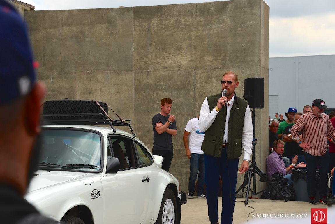 "RM Sotheby's, Ian Kelleher starts the bidding off on the ""Luft Auto"" (Photo: Trevor Ely)"