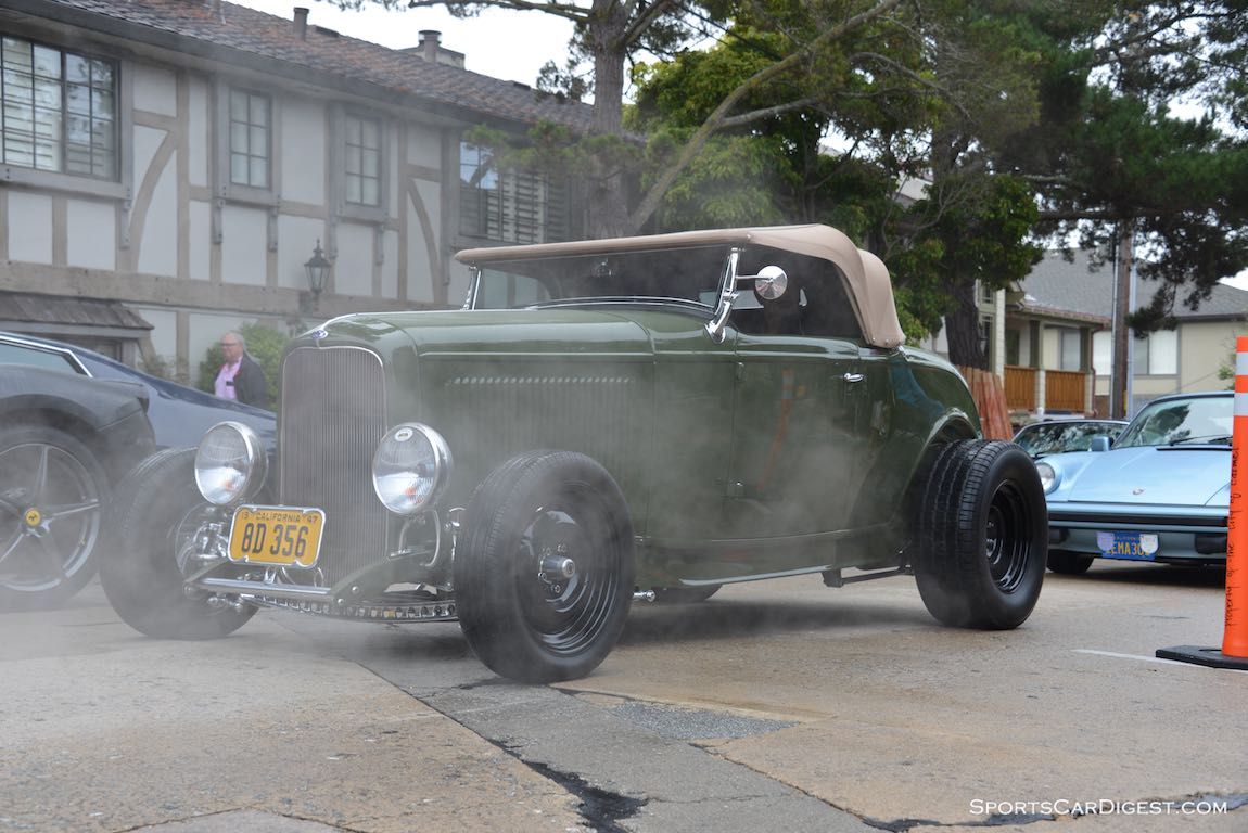 Through the smoke comes the 1932 Ford Hi-Boy Roadster
