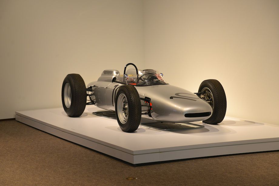 1962 Porsche 804 Formula One, Ranson Webster - This is the winning car that Dan Gurney drove to victory at Porsche's first Grand Prix race in Rouen, France. Soon afterward, at Solitude, Gurney won the race in the same car after setting a new lap record. Jo Bonnier finished second, giving Porsche a 1-2 finish. The Type 804 is powered by a 1.5-Liter flat eight-cylinder engine with a magnesium crankcase and alloy twin-cam heads producing 180 hp at 9,200 rpm. Two other 804s survive, one in the Porsche Museum and the other in the Donington Collection.
