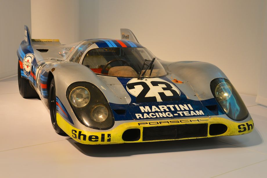 1971 Porsche 917K, Collier Collection - This car, serial number 917-019, raced for Porsche Salzburg in 1970. In 1971 it competed with Louise Piech's Martini Racing Team. The Piech/Martini team won Le Mans (in another 917), and the John Wyer Racing team won everything else, capturing the 1971 World Sports Car Championship.