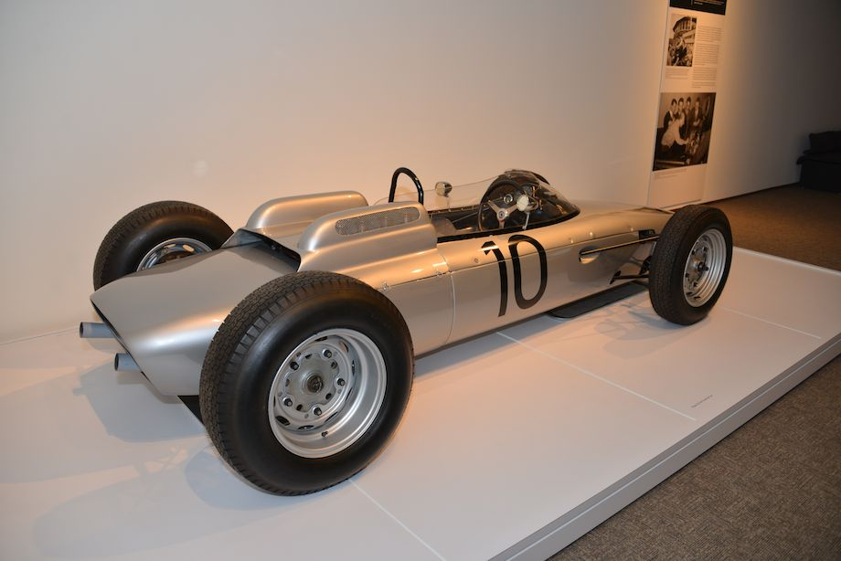 1962 Porsche 804 Formula One, Ranson Webster - This is the winning car that Dan Gurney drove to victory at Porsche's first Grand Prix race in Rouen, France. Soon afterward, at Solitude, Gurney won the race in the same car after setting a new lap record. Jo Bonnier finished second, giving Porsche a 1-2 finish. The Type 804 is powered by a 1.5-Liter flat eight cylinder engine with a magnesium crankcase and alloy twin-cam heads producing 180 hp at 9,200 rpm. Two other 804s survive, one in the Porsche Museum and the other in the Donington Collection.