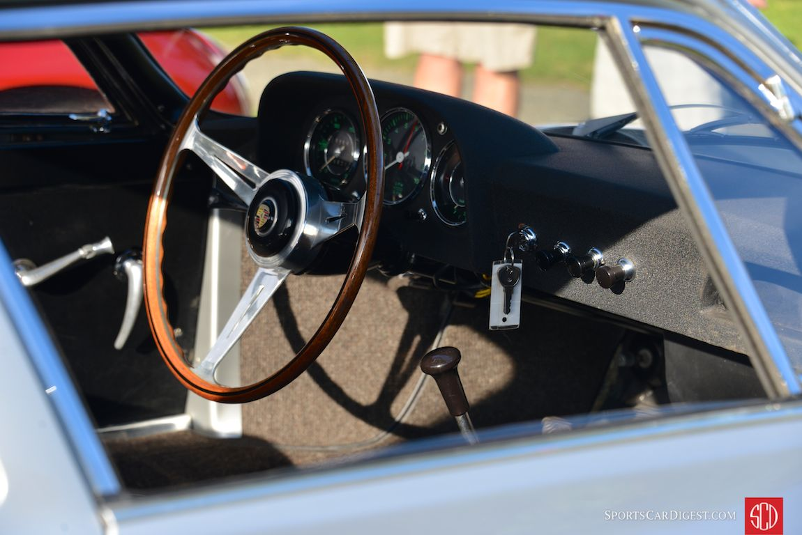 The cockpit of the 1961 Porsche 356B Carrera GTL Abarth coupe