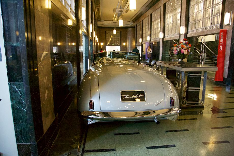 The 1941 Chrysler Thunderbolt parks temporarily in the lobby of the Frist.