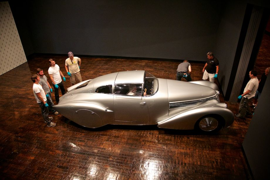 """1938 Hispano-Suiza H6B Dubonnet """"Xenia"""" Coupe is moved into place."""