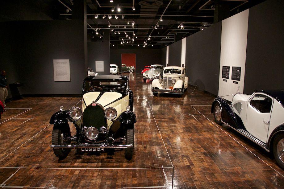 Left: 1934 Bugatti Type 46 Superprofile Coupe. Right: 1934 Voisin Type C27. Back: 1934 Packard Twelve, 1934 Pierce-Arrow Silver Arrow.