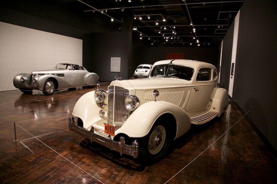 """Front: 1934 Packard Twelve Model 1106 Sport Coupe by Lebaron. Back: 1938 Hispano-Suiza H6B Dubonnet """"Xenia"""" Coupe"""