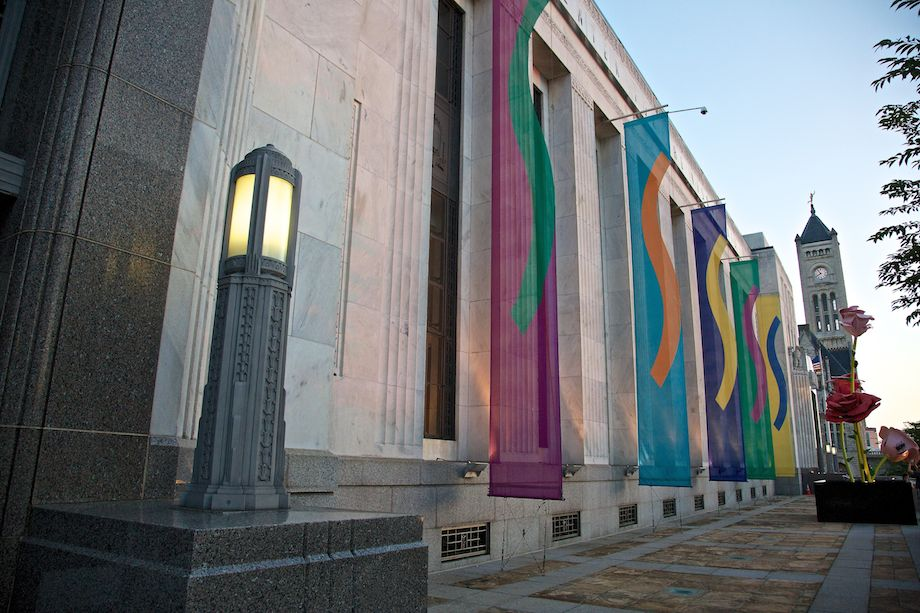The Frist Center for the Visual Arts fronts Broadway in downtown Nashville, Tennessee.